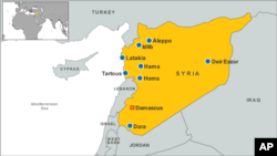 Syria map, including major cities