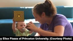 Mothers interact with their babies in the Princeton Baby Lab. Princeton University photo by Elise Piazza.