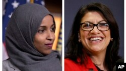 FILE - This combination of 2018 photos shows then-Representatives-elect Ilhan Omar, Democrat-Minnesota, left, and Rashida Tlaib, Democrat-Michigan, in Washington.