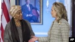 Liberian President Ellen Johnson Sirleaf (left) with Secretary Clinton Jun 8, 2012