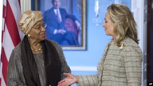 Liberian President Ellen Johnson Sirleaf (left) with Secretary Clinton Jun 8, 2012