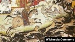 شکارگاه اکبر شاه گورکانی در هند، ۱۶۰۲. می گویند او همزمان ۱۰۰۰ یوز در خدمت داشت که در شکار از آنها استفاده می کرد.
