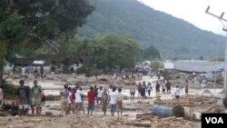 Kawasan Wasior, di provinsi Papua sewaktu dilanda bencana banjir (foto: dok). Pemerintah telah mencanangkan untuk melakukan percepatan pembangunan di Papua, khususnya pembangunan infrastruktur.