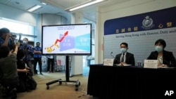 香港警方召开记者会表明逮捕了涉嫌操纵壹传媒股价的15人。(2020年9月10日)