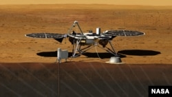 This image shows an artist rendition of the proposed InSight Lander. After driving all around Mars with four rovers, NASA wants to look deep into the guts of the red planet.