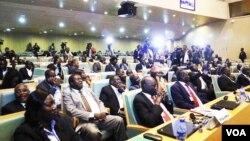 FILE - South Sudan government delegates are seen during recent talks in Addis Ababa (J. Tanza/VOA)