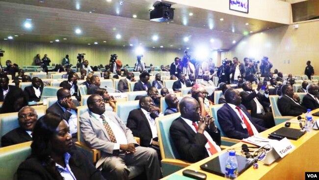 FILE - South Sudan government delegates during the recent talks in Addis Ababa (J. Tanza/VOA)