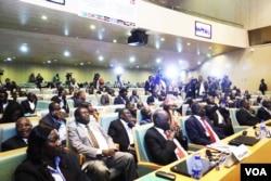 FILE - South Sudan government delegates attend talks in Addis Ababa (J. Tanza/VOA)