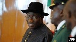 Shugaba Goodluck Jonathan na Najeriya lokacin rufe taron kolin ECOWAS a Abuja, 18 Yuli, 2013.