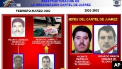 In this hand out photo released by the Attorney General's office, captured suspect Ricardo Garcia Urquiza, pictured right, and Vicente Carrillo Fuentes leader of Cartel de Juarez, second right are shown.