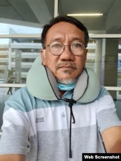 Bác sĩ Hồ Hải đến sân bay Dallas, Texas hôm 10/5/2021. Photo bshohai1.blogspot.com