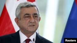 Serzh Sargsyan, then president of Armenia, speaks during a news briefing in Tbilisi, Georgia, Oct. 30, 2015.