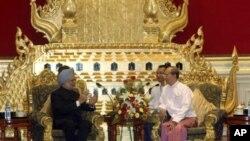 印度總理辛格在星期一會見緬甸總統吳登盛