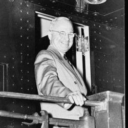 """President Truman on a train, probably during his """"whistle stop"""" campaign"""