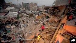 나이로비 건물 붕괴 현장