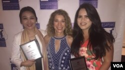 (From L to R): VOA's Natalie Liu, Carolyn Presutti and Aline Barros