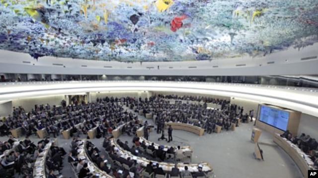 联合国人权理事会2月28日在日内瓦辩论叙利亚人权与人道局势的会场