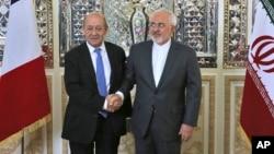 5일 이란을 방문한 장 이브 르드리앙 프랑스 외무장관이 모하마드 자바드 자리르 이란 외무장관과 회담했다.