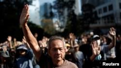 香港银发族和学生星期六(11月30)举行跨代抗议集会.