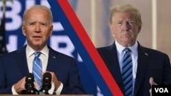 ប្រធានាធិបតីជាប់ឆ្នោតរបស់សហរដ្ឋអាមេរិកលោក Joe Biden (ឆ្វេង) និងប្រធានាធិបតីសហរដ្ឋអាមេរិកលោក Donald Trump។