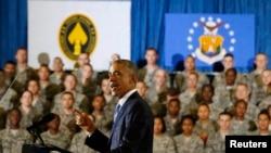 美国总统奥巴马在美国中央司令部听取汇报后讲话
