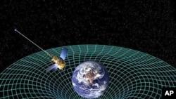 គំនិតរបស់វិចិត្រករអំពីយានអវកាសពិនិត្យអង្កេតទំនាញផែនដីប៊ី Gravity Probe B ដែលវិលជុំវិញផែនដីដើម្បីវាស់មើល អវកាសនិងពេលវេលា ជាការពិពណ៌នាជ្រុង៤ អំពីចក្រវាឡរួមមានកំពស់ ទទឹងបណ្ដោយហើយនឹងពេលវេលា។