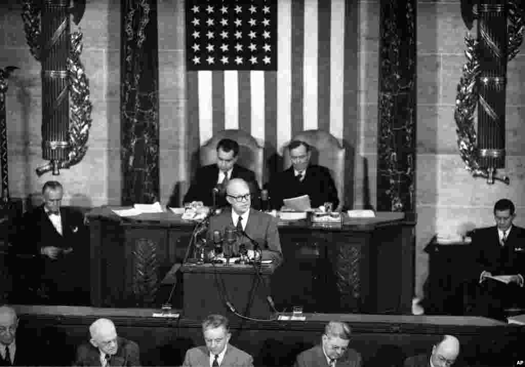 U.S. President Dwight Eisenhower delivers his first State of the Union Address before a joint session of Congress in Washington, Feb. 2, 1953.