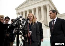 Abigail Fisher, the plaintiff in Fisher v. Texas, speaks outside the U.S. Supreme Court in Washington, Dec. 9, 2015.