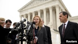 Abigail Fisher, the plaintiff in Fisher v. Texas, speaks outside the U.S. Supreme Court in Washington, Dec. 9, 2015.