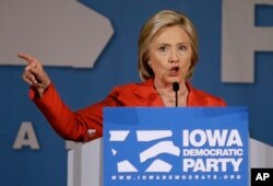 Democratic presidential candidate Hillary Clinton speaks during the Iowa Democratic Party's Hall of Fame Dinner in Cedar Rapids, Iowa, July 17, 2015.