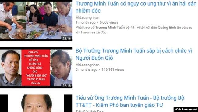 """Tối 22/3, VOA Việt Ngữ thấy một đoạn clip dài gần 23 phút có nội dung ông Tuấn """"có nguy cơ ung thư vì ăn hải sản nhiễm độc"""" với hơn 5 nghìn lượt xem vẫn còn trên trang YouTube."""