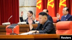 North Korean leader Kim Jong-Un presides over a plenary meeting of the Central Committee of the Workers' Party of Korea in Pyongyang, March 31, 2013.
