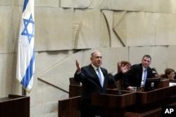 FILE - Israeli Prime Minister Benjamin Netanyahu is seen speaking in the Knesset in Jerusalem in a May 14, 2015, photo.