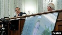 На фото: фрагмент виступу глава компанії Facebook на слуханнях у Сенаті США з приводу технологічних компаній