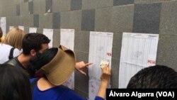 Ciudadanos venezolanos buscan su registro en listas electorales para depositar su voto en comicios municipales. 10 de diciembre de 2027