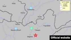阿富汗地震位置(美國地質調查局地圖)
