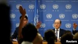 류제이 유엔주재 중국대사가 31일 미국 뉴욕 유엔 본부에서 기자회견을 하고 있다.