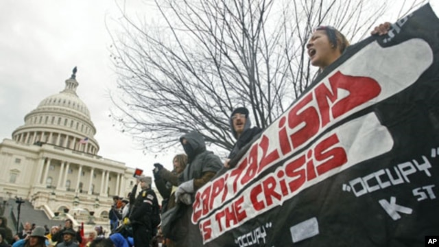 Occupy Congress/DC protesters hold a banner in front of the U.S. Capitol during a rally in Washington, January 17, 2012.
