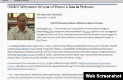 Hôm 18/9/2020, Uỷ hội Tự do Tôn giáo Quốc tế Hoa Kỳ (USCIRF) ra thông cáo báo chí hoan nghênh việc Việt Nam trả tự do cho mục sư A Đảo.