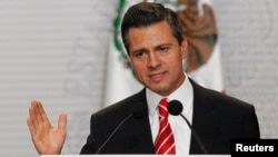 FILE - President Enrique Pena Nieto speaks during the presentation of a telecommunications reform bill in Mexico City, March 11, 2013.
