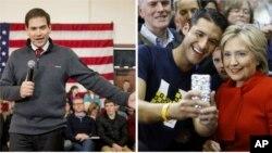 ຈາກຊ້າຍ, ຜູ້ລົງແຂ່ງຂັນເອົາປະທານາທິບໍດີ ສັງກັດພັກ ຣີພັບບລີກັນ ສະມາຊິກສະພາສູງ ທ່ານ Marco Rubio ກ່າວປາໄສທີ່ມະຫາວິທະຍາໄລ ລັດ Iowa ໃນເມືອງ Ames, ລັດ Iowa, 23 ມັງກອນ, 2016; ຜູ້ລົງແຂ່ງຂັນເອົາປະທານາທິບໍດີ ສັງກັດພັກ ເດໂມແຄຣັດ ທ່ານນາງ Hillary Clinton ຖ່າຍຮູບກັບຜູ້ສະໜັບສະໜູນ ໃນພາກຕາເວັນຕົກຂອງ ນະຄອນ Des Moines, ລັດ Iowa, 24 ມັງກອນ, 2016.