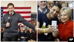 Marko Rubio, republikanski predsednički pretendent i Hilari Klinton, demokratski predsendički pretendent u Ajovi