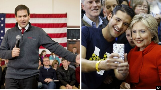 From left, Republican presidential candidate Senator Marco Rubio speaks at Iowa State University in Ames, Iowa, Jan. 23, 2016; Democratic presidential candidate Hillary Clinton poses for a selfie with a supporter in West Des Moines, Iowa, Jan. 24, 2016.