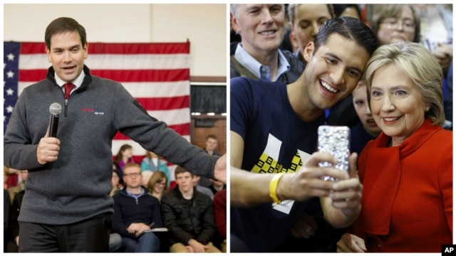 From left, Republican presidential candidate Senator Marco Rubio speaks at the Iowa State University in Ames, Iowa, Jan, 23, 2016; Democratic presidential candidate Hillary Clinton poses for a selfie with a supporter after speaking in West Des Moines, Iowa.