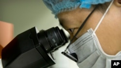 На Фото: лікар у Китаї дивиться у мікроскоп