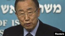 Babban Sakataren Majalisar Dinkin Duniya Ban Ki-moon yayinda yake jawabi jiya a Israila