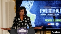 La première dame américaine Michelle Obama lors de la journée internationale de la fille, à la Maison Blanche, le 11 octobre 2016.