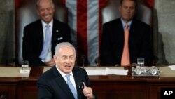 PM Israel Benjamin Netanyahu saat berpidato di hadapan sidang gabungan Kongres AS (foto: dok).