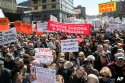 People gather for a rally in Moscow, Russia, May 14, 2017.