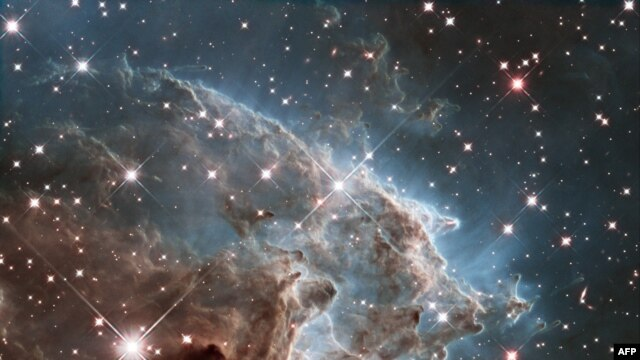 This handout image by the ESA and taken by the NASA/ESA Hubble Space Telescope shows the Monkey Head Nebula or NGC2174, to celebrates its 24th year in orbit. NGC 2174 lies about 6400 light-years away in the constellation of Orion (The Hunter).